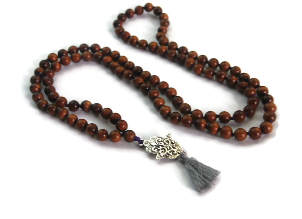 Hamsa Line 8mm Vietnamese Pear Wood Traditional Knotted 108 Meditation Mala Necklace with Hamsa Charm Pendant