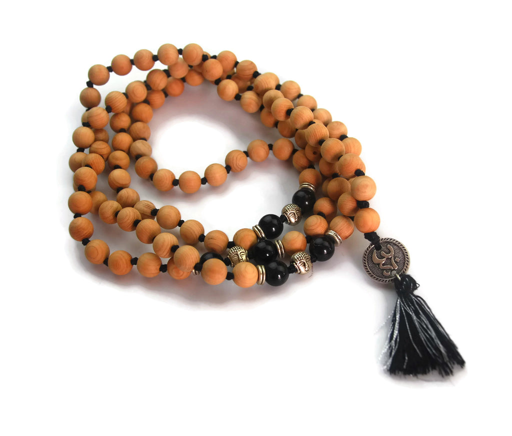 Om Line 8mm Cypress Wood & Obsidian Traditional Knotted 108 Meditation Mala Necklace with Om Charm Pendant