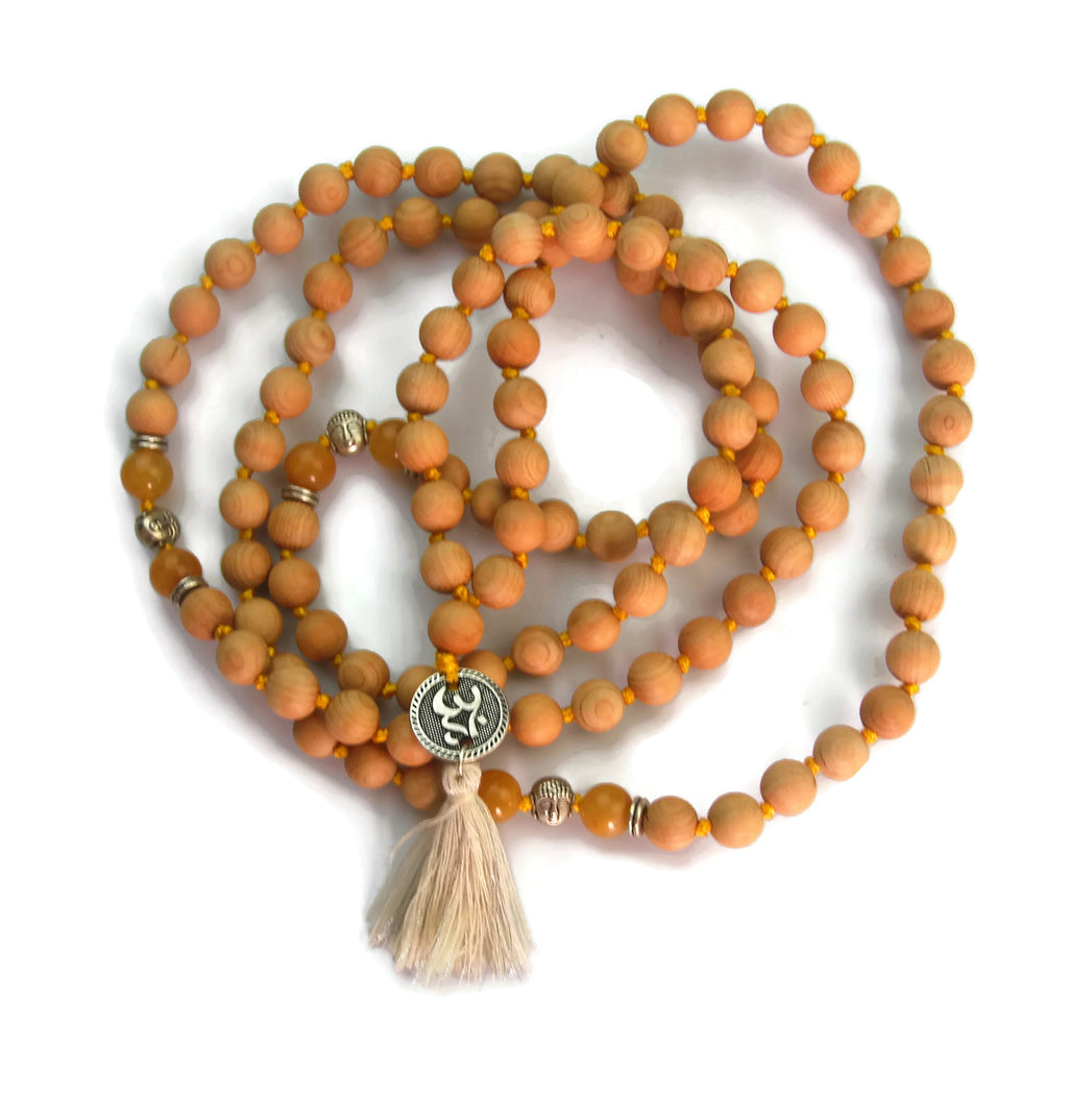 Om Line 8mm Cypress Wood & Topaz Traditional Knotted 108 Meditation Mala Necklace with Om Charm Pendant Solar Plexus Chakra
