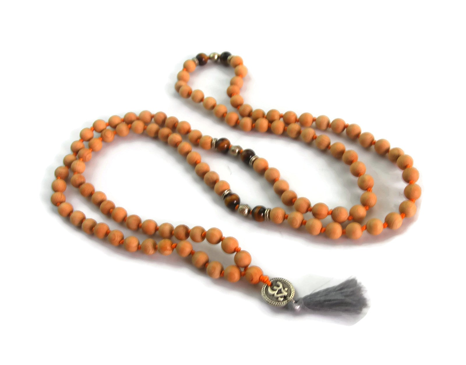 Om Line 8mm Cypress Wood & Tigers Eye Traditional Knotted 108 Meditation Mala Necklace with Om Charm Pendant Solar Plexus Chakra