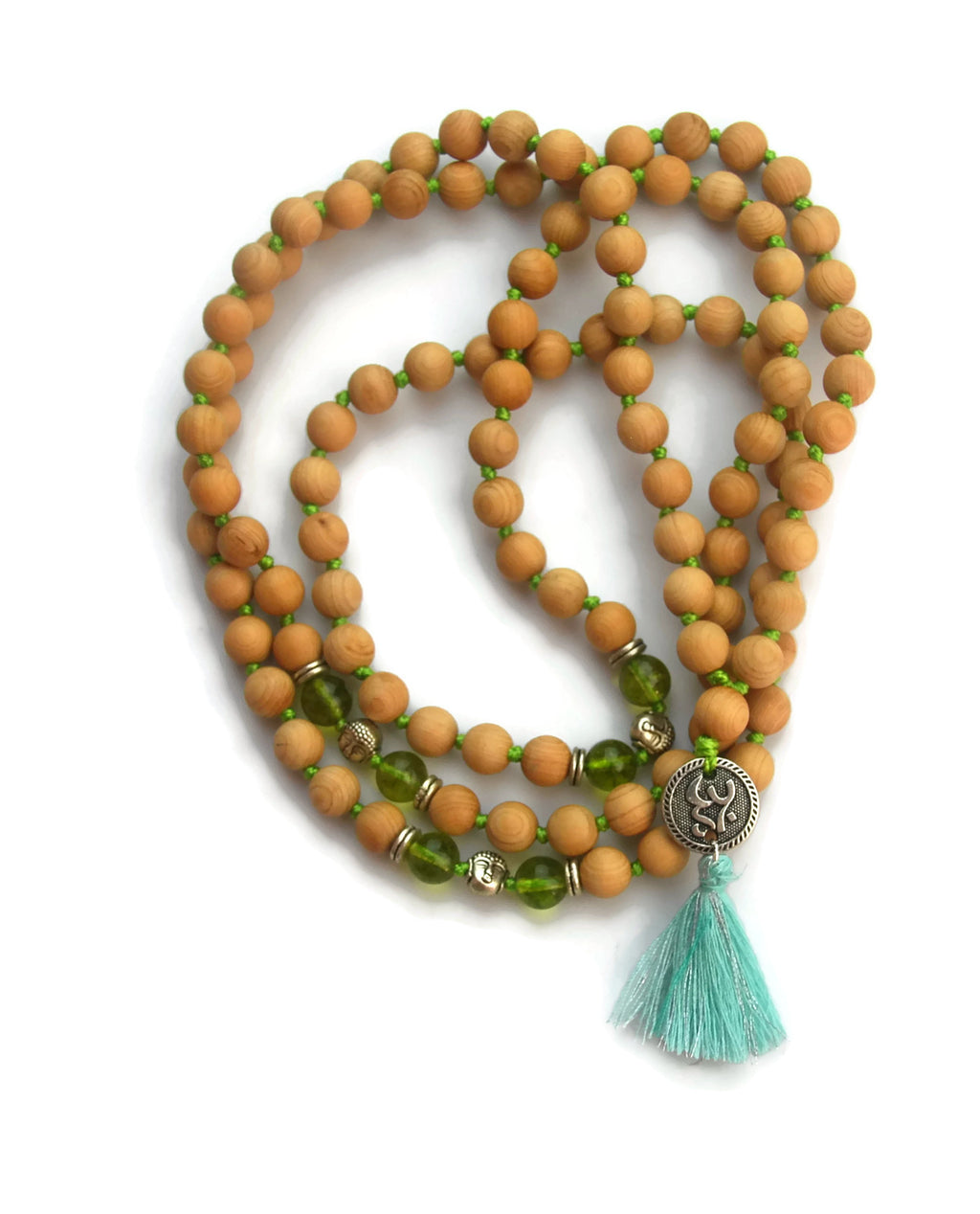 Om Line 8mm Cypress Wood & Peridot Crystal Traditional Knotted 108 Meditation Mala Necklace with Om Charm Pendant Heart Chakra