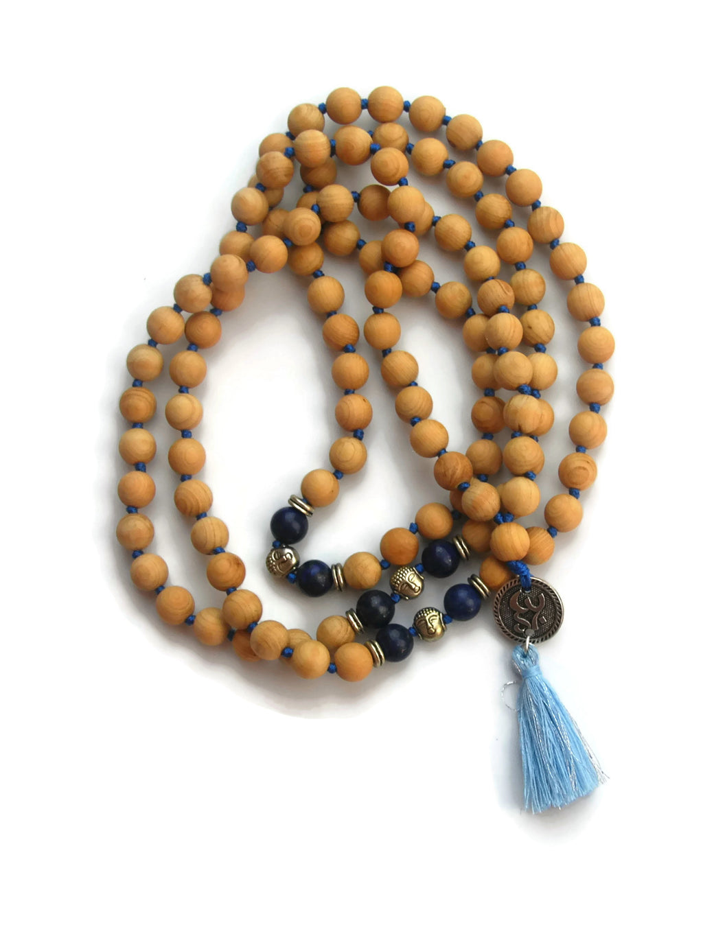 Om Line 8mm Cypress Wood & Lapis Lazuli Traditional Knotted 108 Meditation Mala Necklace with Om Charm Pendant Third Eye Chakra