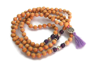 Om Line 8mm Cypress Wood & Amethyst Traditional Knotted 108 Meditation Mala Necklace with Om Charm Pendant Crown Chakra