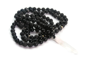 Enlightenment Line Obsidian Lava Hematite Crystal Quartz Pendant Traditional Knotted 108 Meditation Mala Necklace Crown Chakra Focus Reiki