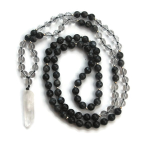 Enlightenment Line Labradorite Clear Quartz 925 Silver Traditional Knotted 108 Meditation Mala Necklace Crown Chakra Focus Energy Reiki Active