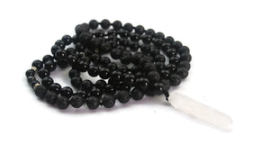 Enlightenment Line 8mm Obsidian Lava Hematite Crystal Quartz Pendant Traditional Knotted 108 Meditation Mala Necklace Crown Chakra Reiki Active