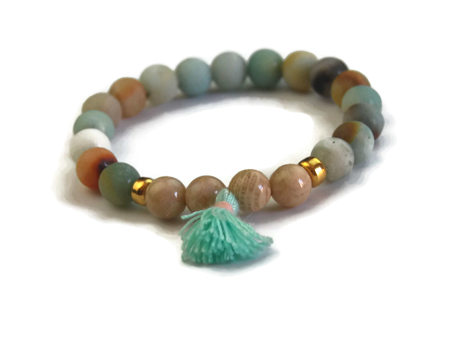 Beach Collection 8mm Amazonite, Crinoid Fossil with 24k Gold Spacers and Light Green Tassel Stretch Bracelet Wrist Mala