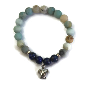 Beach Collection 8mm Amazonite, Lapis Lazuli with Silver Spacers and Sea Turtle Charm Stretch Bracelet Wrist Mala