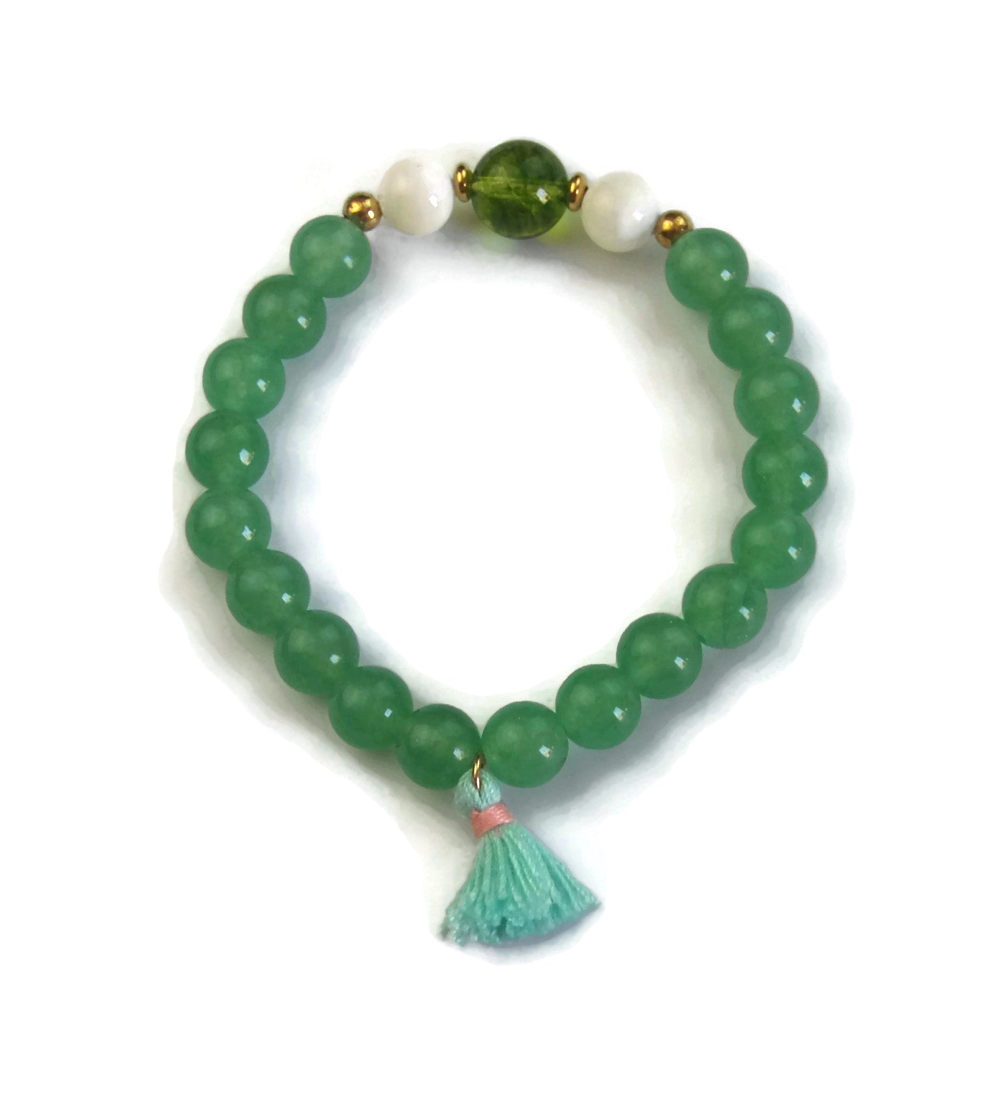 Beach Collection 8mm Green Aventurine, Pearl Shell and Peridot with 24K Gold Spacers and Tassel Stretch Bracelet Wrist Mala Heart Chakra