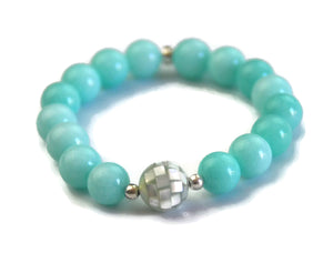 Beach Collection 10mm Amazonite and Mother of Pearl Mosaic Bead Wrist Mala Stretch Meditation Yoga Bracelet Heart Chakra