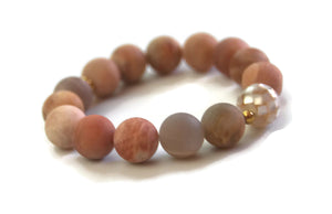 Beach Collection 14mm Matte Sunstone, Mother of Pearl Mosaic Bead Wrist Mala Stretch Meditation Yoga Bracelet Sacral Chakra