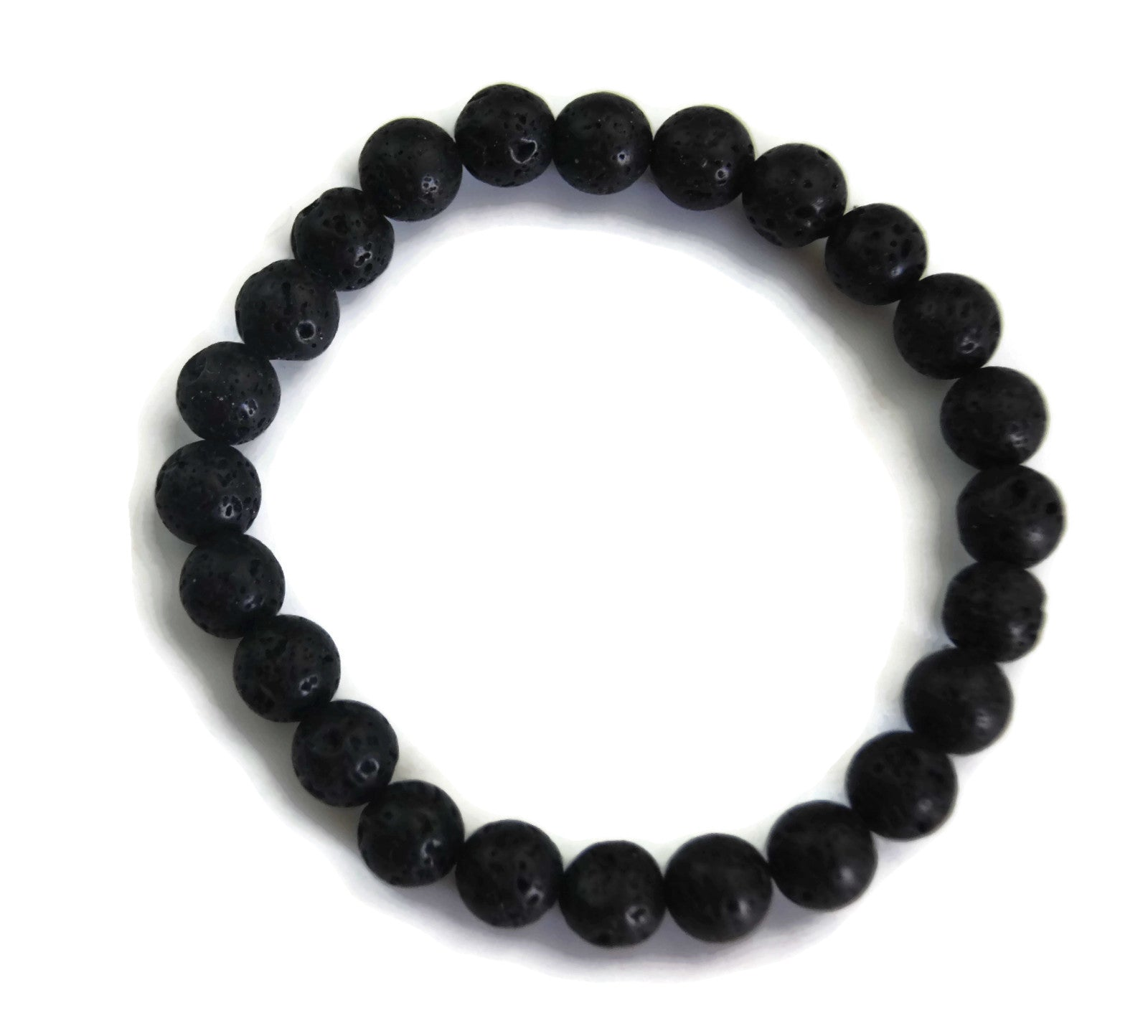 Lotus Line Black Lava Stone Meditation Yoga Wrist Mala Stretch Bracelet, Root Base Chakra