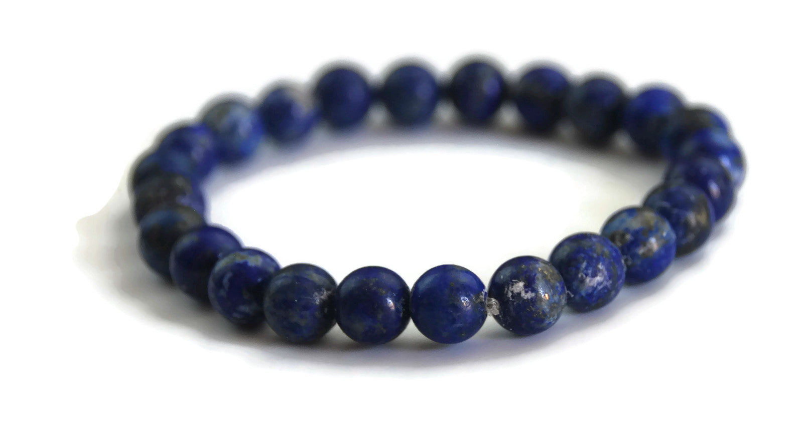 Lotus Line Blue Lapis Lazuli Stone Meditation Yoga Wrist Mala Stretch Bracelet, Third Eye Chakra