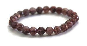 Lotus Line Strawberry Crystal Faceted Stone Meditation Yoga Wrist Mala Stretch Bracelet, Heart Chakra