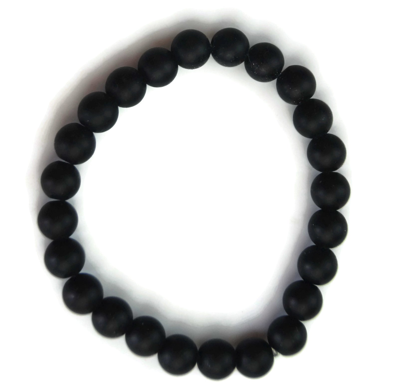 Lotus Line Matte Black Obsidian Stone Meditation Yoga Wrist Mala Stretch Bracelet, Root Base Chakra