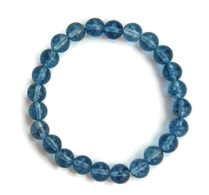 Lotus Line Blue Phantom Crystal Stone Meditation Yoga Wrist Mala Stretch Bracelet, Third Eye Chakra
