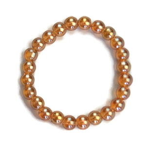 Lotus Line Gold Crystal Stone Meditation Yoga Wrist Mala Stretch Bracelet, Crown Chakra