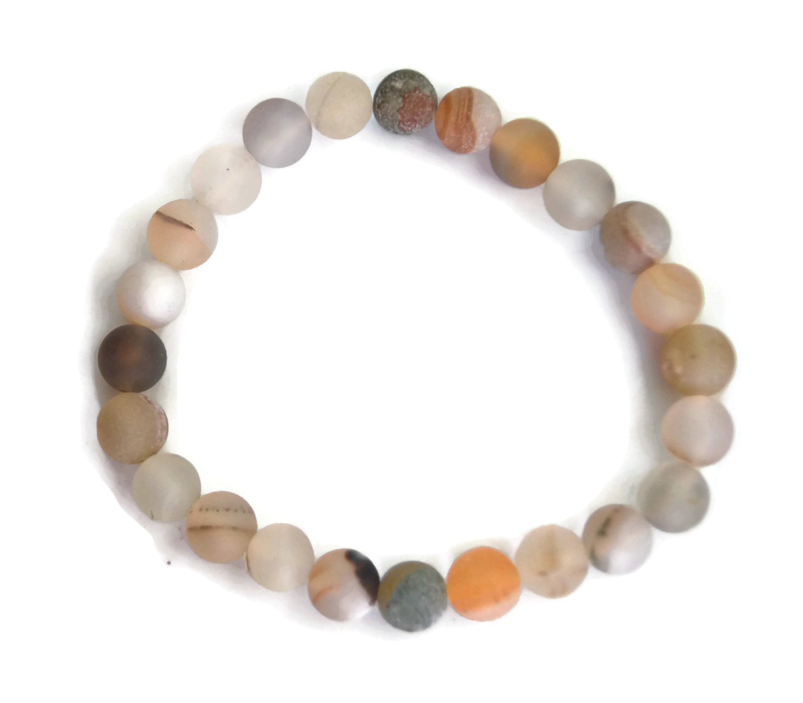 Lotus Line White Dzi Bead Stone Meditation Yoga Wrist Mala Stretch Bracelet, Root Base Chakra
