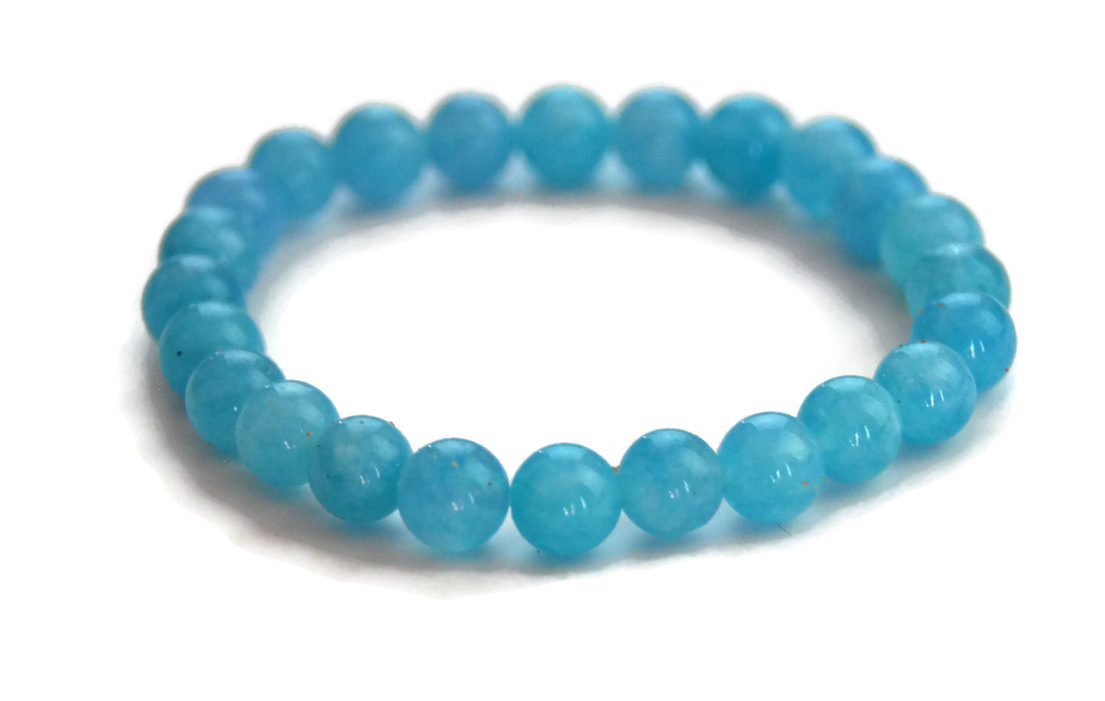 Lotus Line Aquamarine Stone Meditation Yoga Wrist Mala Stretch Bracelet, Throat Chakra