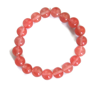 Lotus Line Strawberry Crystal Stone Meditation Yoga Wrist Mala Stretch Bracelet, Heart Chakra