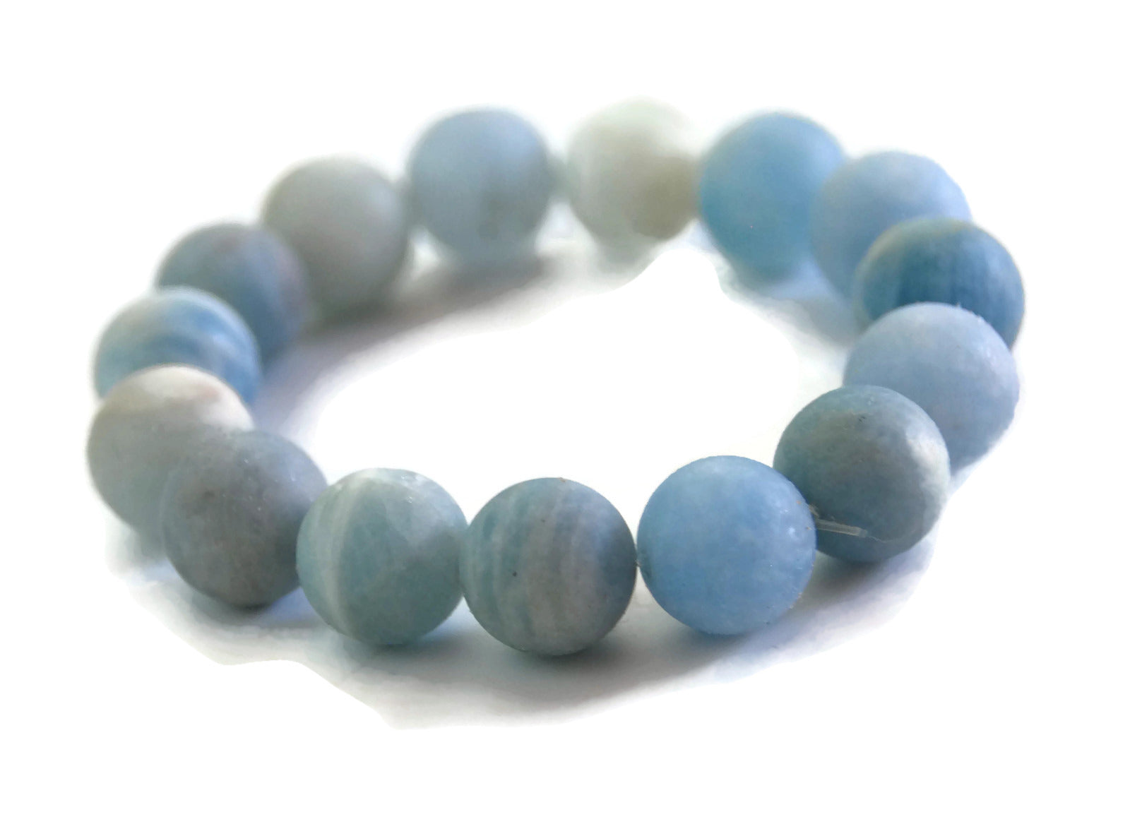 Lotus Line Matte Aquamarine Stone Meditation Yoga Wrist Mala Stretch Bracelet, Throat Chakra