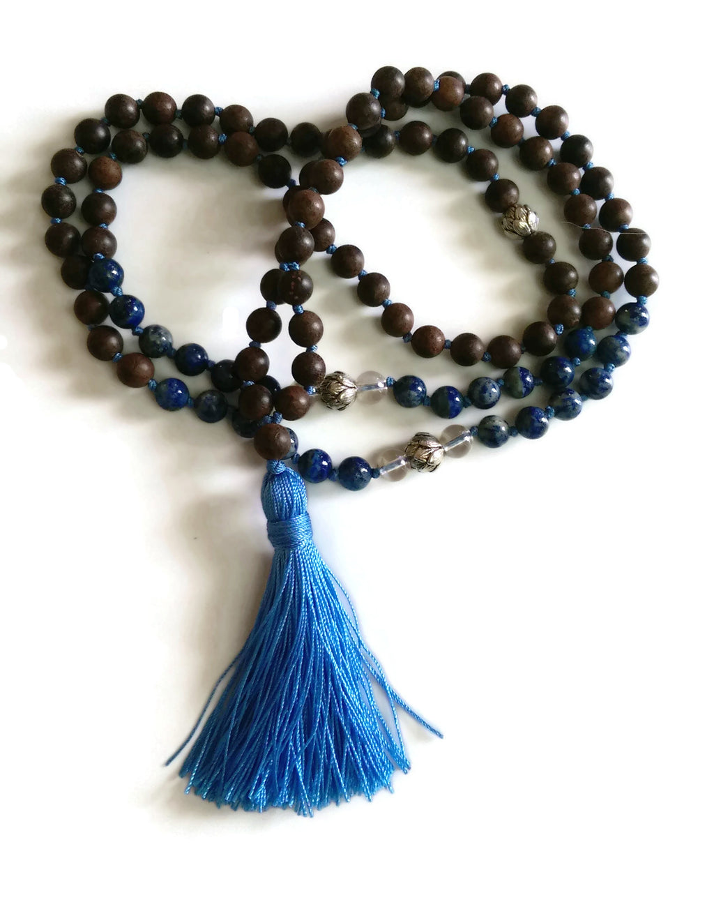 Fresh Start Chakra Collection 8mm Lapis Lazuli Crystal Brown Agarwood Traditional Knotted 108 Meditation Mala Necklace