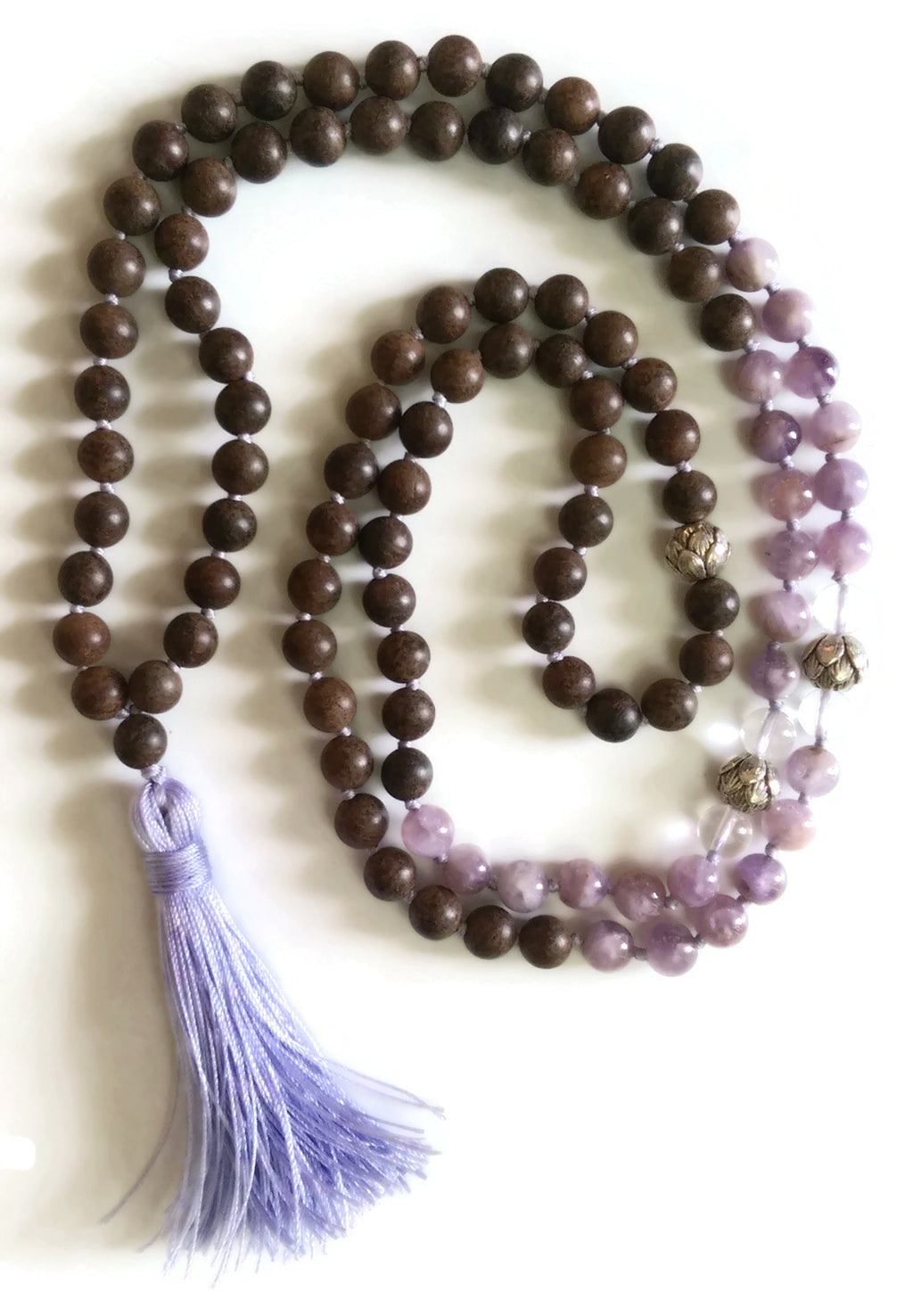 Fresh Start Chakra Collection 8mm Amethyst Crystal Brown Agarwood Traditional Knotted 108 Meditation Mala Necklace Crown Chakra Yoga Mauve