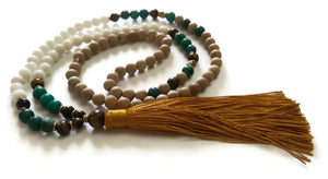 Nepal Chakra Collection 8mm Matte Gold Sandalwood, Turquoise, Tiger Eye Stone Bead Traditional Knotted 108 Meditation Mala Necklace Jewelry