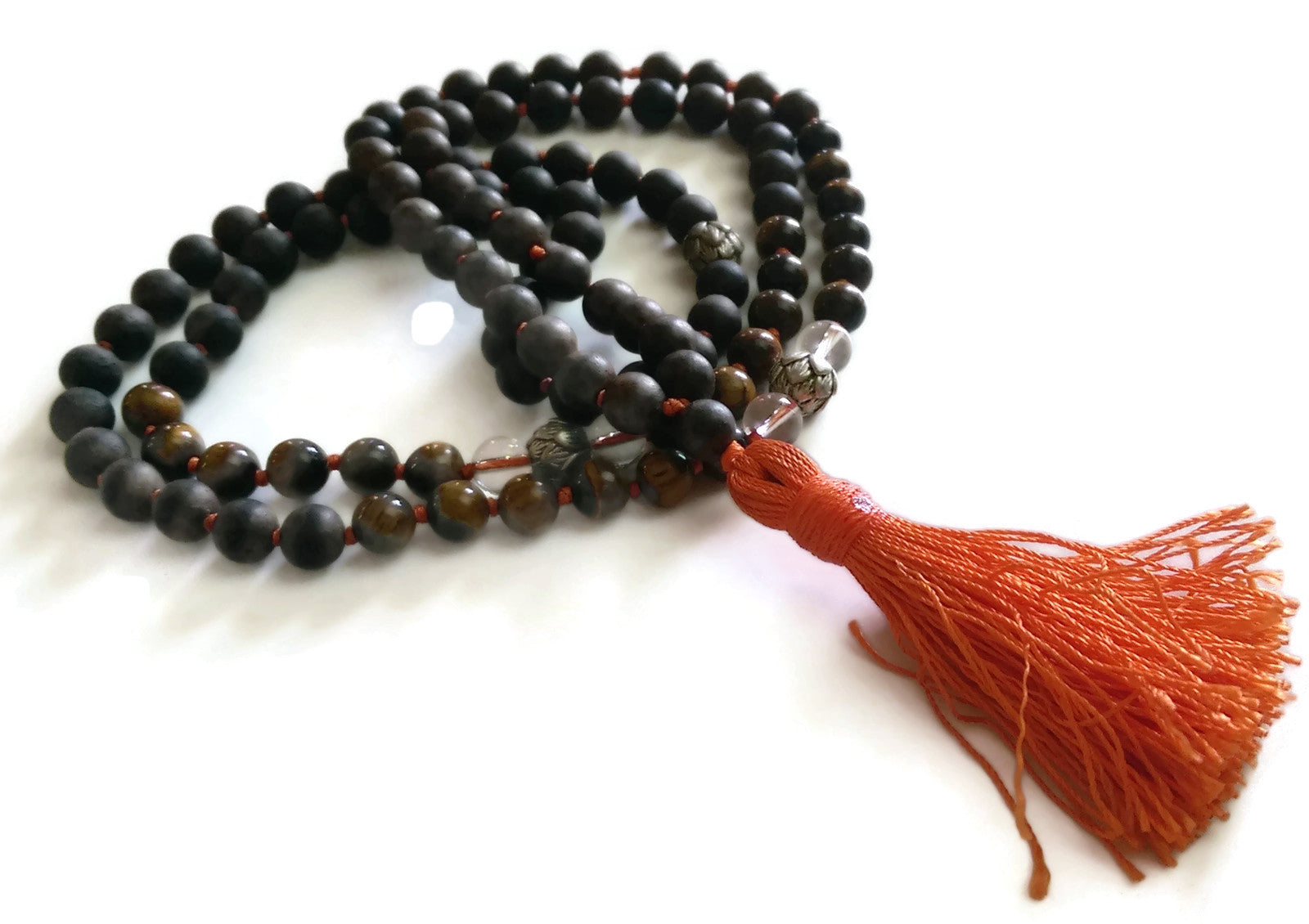 Fresh Start Chakra Collection 8mm Tiger Eye Crystal Brown Agarwood Traditional Knotted 108 Meditation Mala Necklace Solar Plexus Chakra Yoga