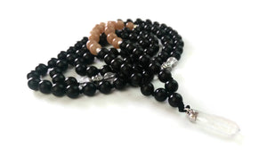 Fresh Start Chakra Collection 8mm Sunstone Crystal Ebony wood Traditional Knotted 108 Meditation Mala Necklace Sacral Chakra Crystal Pendant