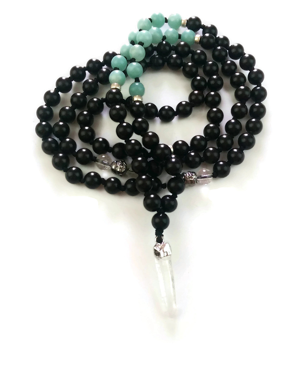 Fresh Start Chakra Collection 8mm Brazilian Amazonite Crystal Ebony wood Traditional Knotted 108 Meditation Mala Necklace Heart Chakra