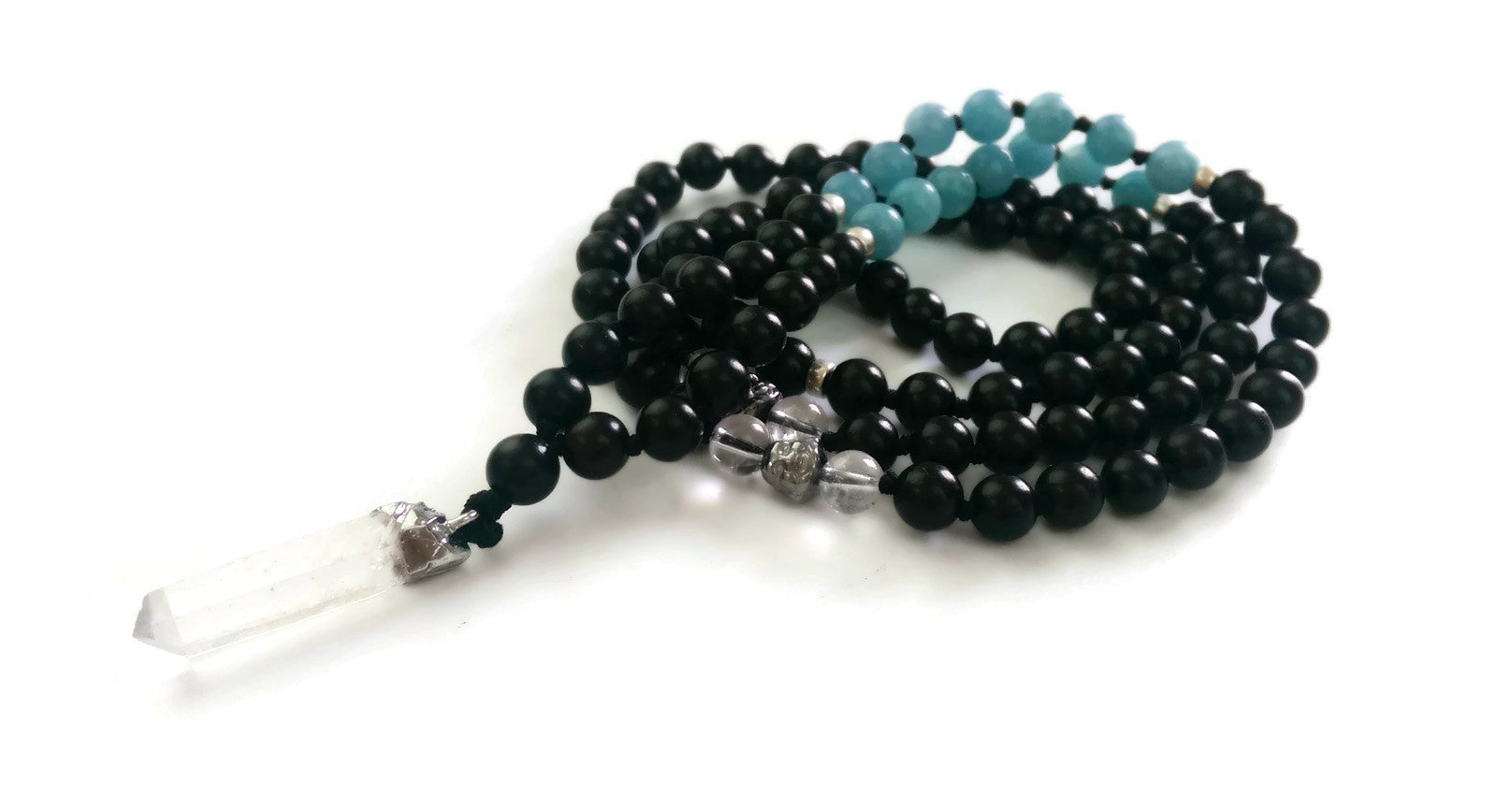 Fresh Start Chakra Collection 8mm Aquamarine Crystal Ebony wood Traditional Knotted 108 Meditation Mala Necklace Throat Chakra Raw Pendant