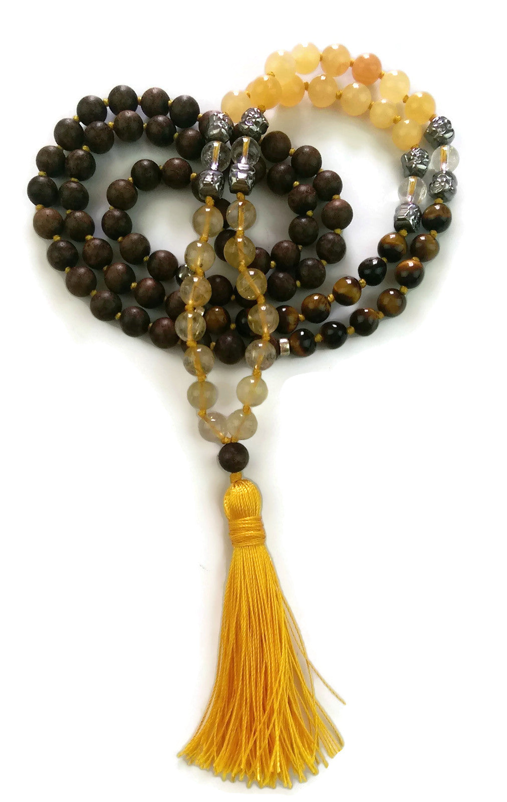 Fresh Start Chakra Collection 8mm Mountain Crystal Topaz Tiger Eye Agarwood Traditional Knotted 108 Meditation Mala Necklace Solar Plexus