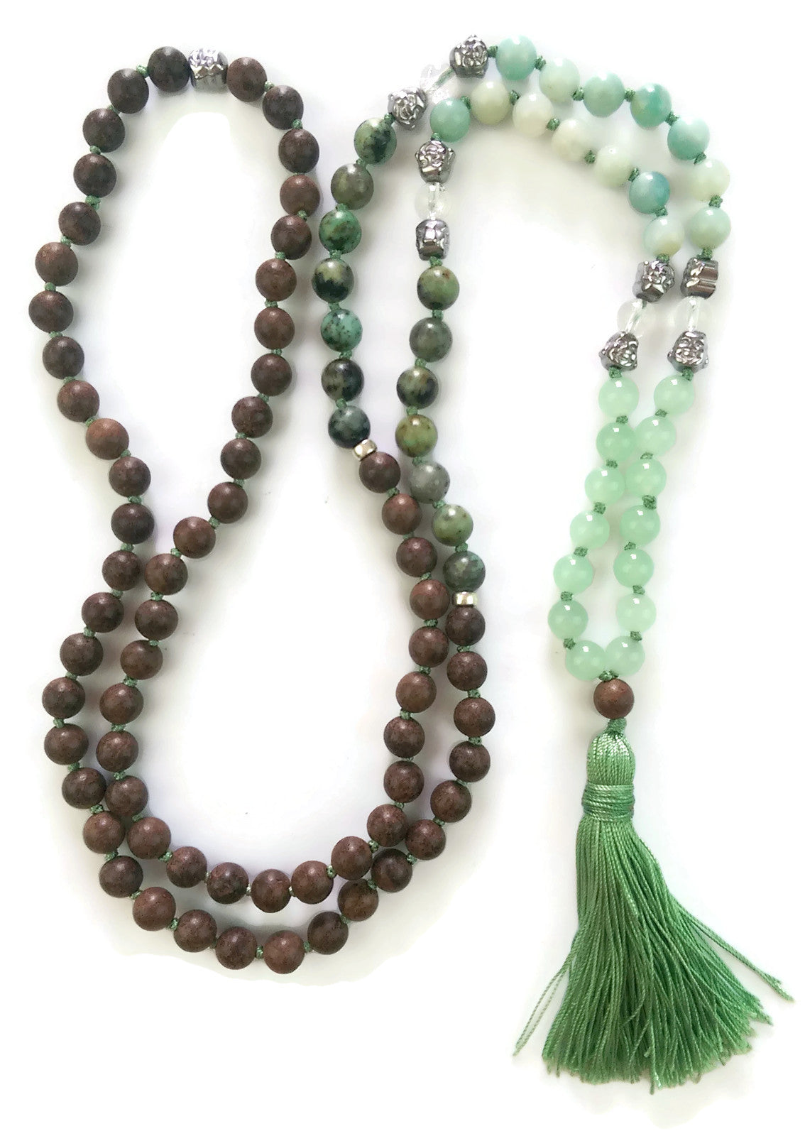 Fresh Start Chakra Collection 8mm Aventurine Amazonite African Turquoise Agarwood Traditional Knotted 108 Meditation Mala Necklace Heart