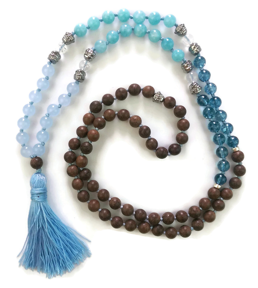 Fresh Start Chakra Collection 8mm Agate Aquamarine Blue Phantom Crystal Agarwood Traditional Knotted 108 Meditation Mala Necklace Throat