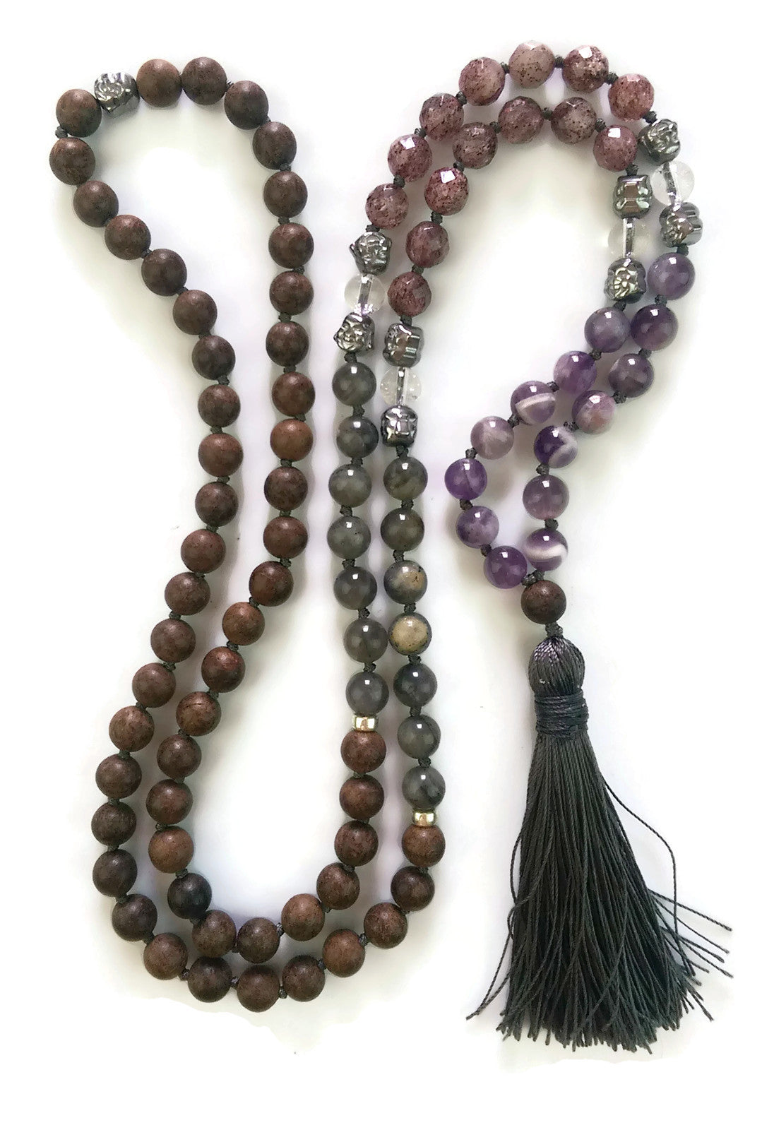 Fresh Start Chakra Collection 8mm Amethyst Strawberry Crystal Labradorite Agarwood Traditional Knotted 108 Meditation Mala Necklace Crown
