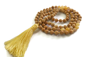 Fresh Start Chakra Collection 8mm Topaz Sunstone and Cypress Wood Beads Traditional Knotted 108 Meditation Mala Necklace Solar Plexus Chakra