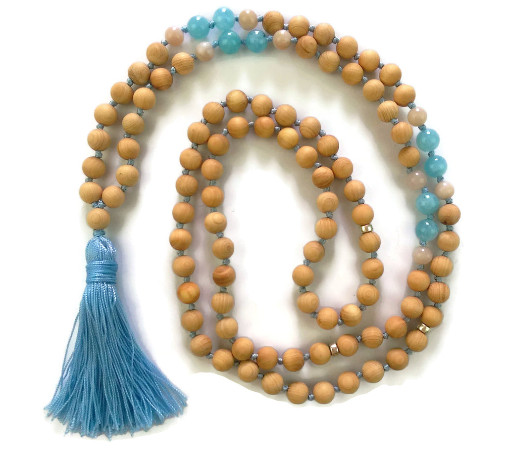 Fresh Start Chakra Collection 8mm Aquamarine Sunstone and Cypress Wood Beads Traditional Knotted 108 Meditation Mala Necklace Throat Chakra