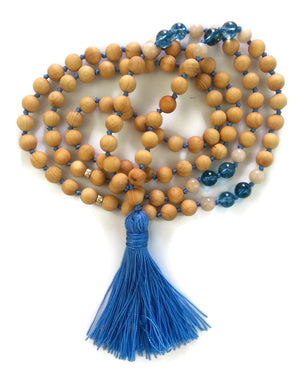 Fresh Start Chakra Collection 8mm Phantom Crystal Sunstone Cypress Wood Beads Traditional Knotted 108 Meditation Mala Necklace Third Eye