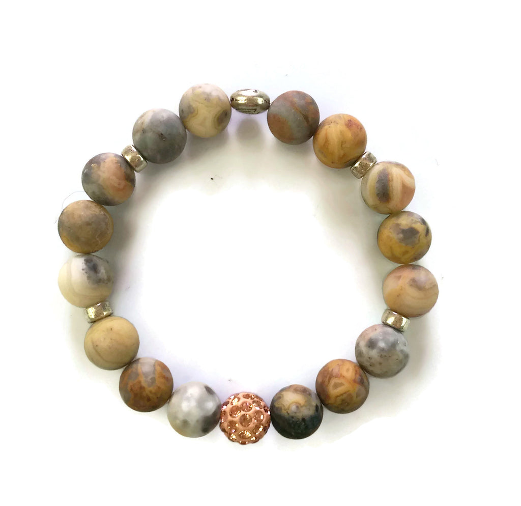 10mm Picasso Jasper Stone Silver Lotus Shamballa Bead Wrist Mala Stretch Bracelet Stackable Yoga Mindful Focus Meditation Base Chakra Modern