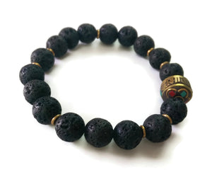 Nepal Chakra Collection 10mm Lava Stone Nepal Bead Wrist Mala Stretch Bracelet Root Base Chakra