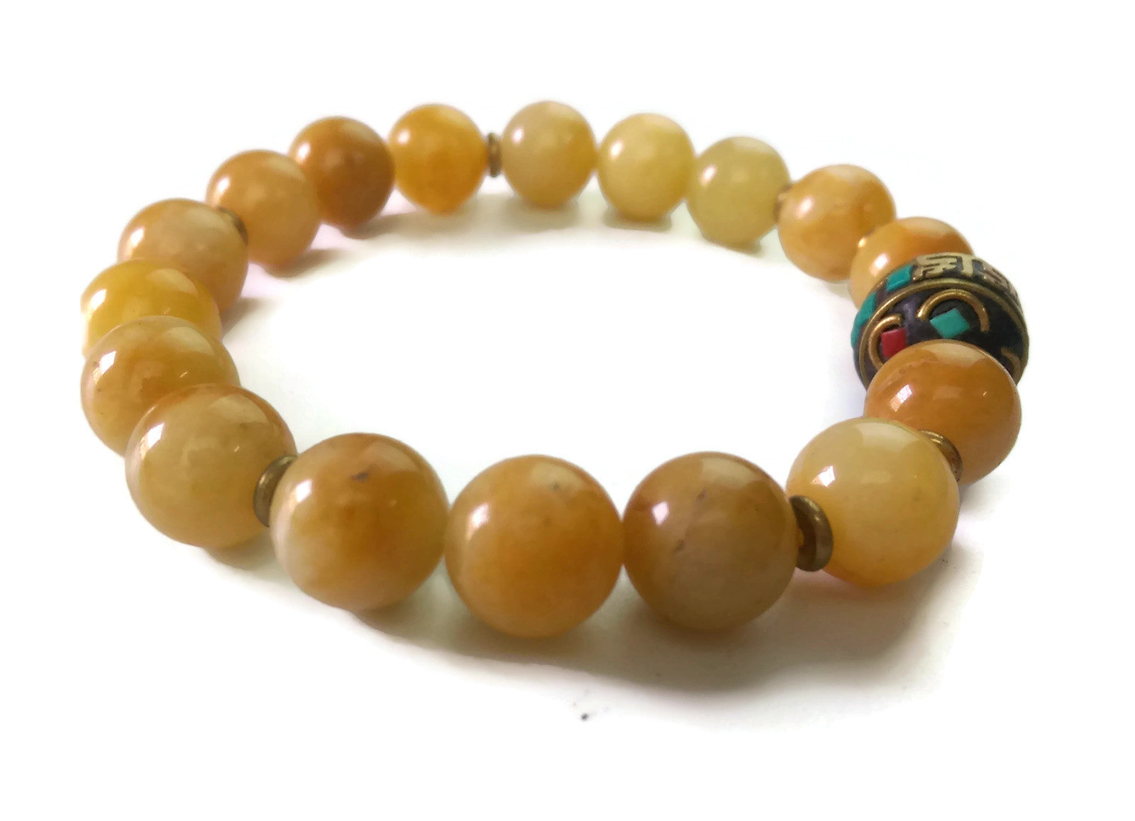 Nepal Chakra Collection 10mm Topaz Stone Nepal Bead Wrist Mala Stretch Bracelet Solar Plexus Chakra