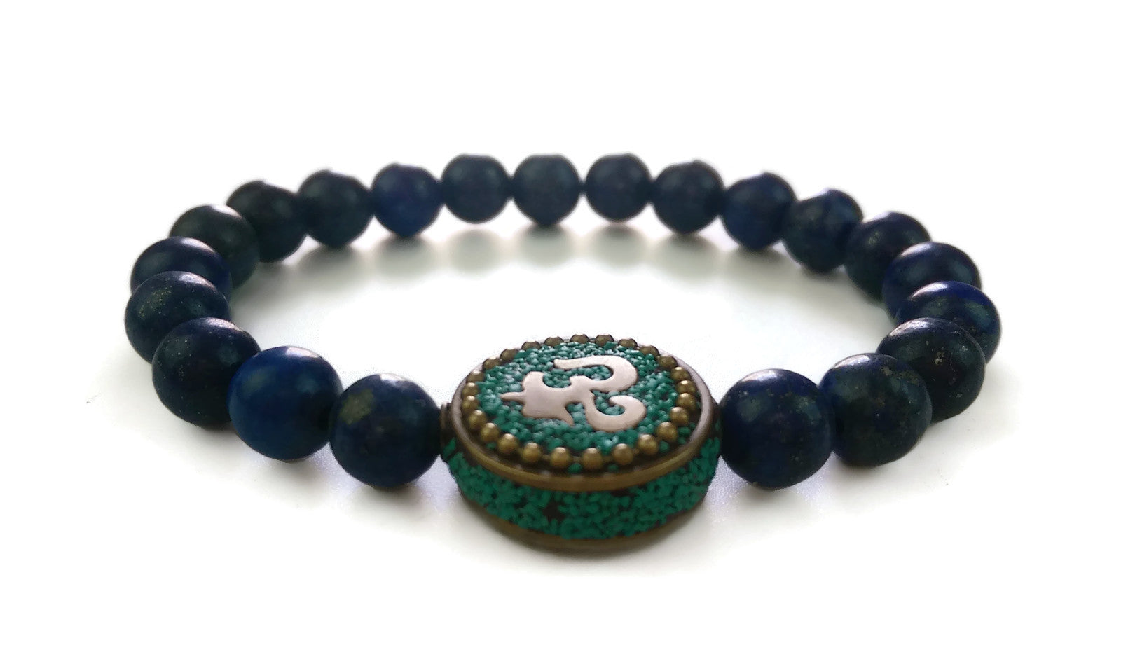 Nepal Chakra Collection 8mm Lapis Lazuli Stone Bead Wrist Mala Stretch Bracelet Thrid Eye Chakra