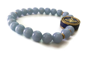 Nepal Chakra Collection 8mm Angelite Stone Bead Wrist Mala Stretch Bracelet Throat Chakra