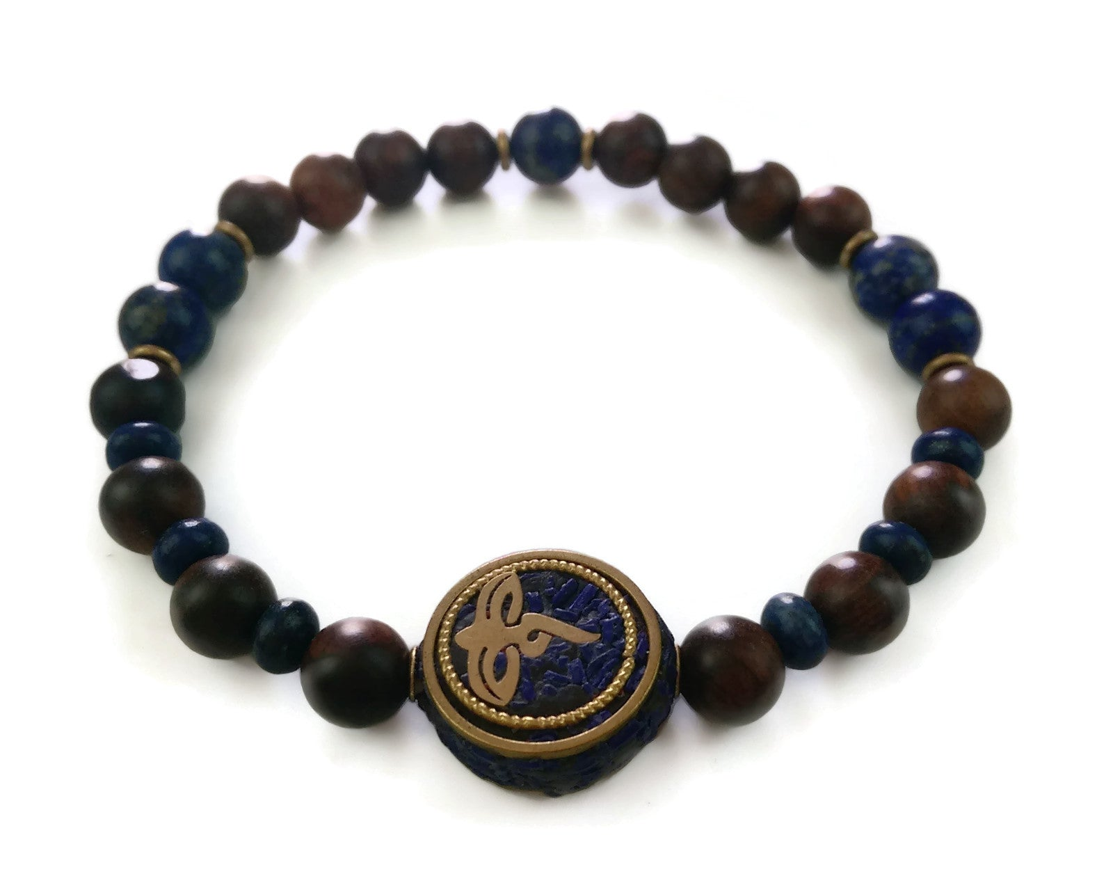 Nepal Chakra Collection 8mm Brown Agarwood Lapis Nepal Bead Wrist Mala Stretch Bracelet Third Eye Chakra