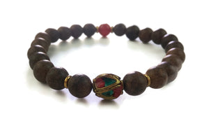 Nepal Chakra Collection 8mm Brown Agarwood Nepal Bead Carnelian Wrist Mala Stretch Bracelet  Sacral Chakra