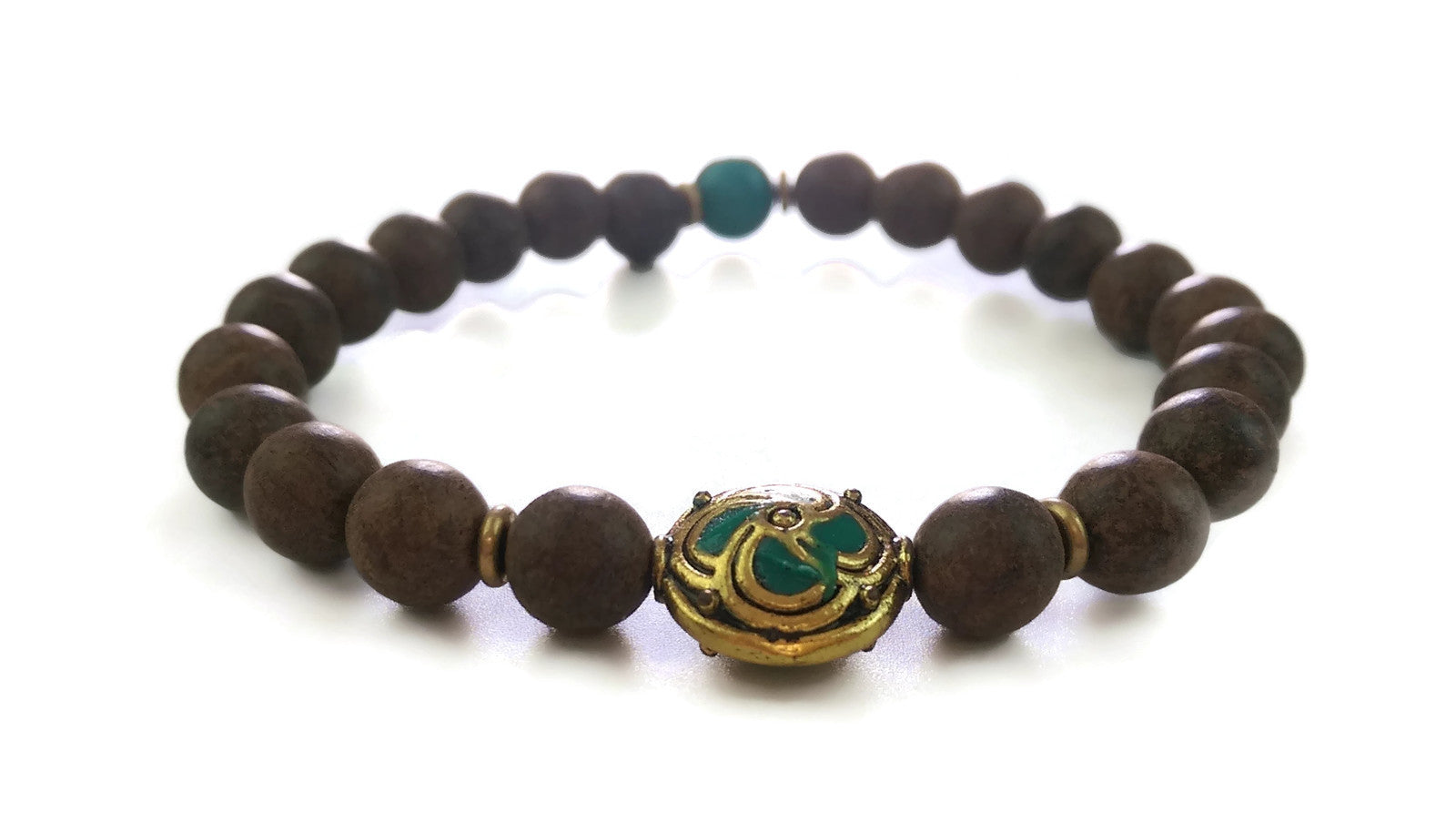 Nepal Chakra Collection 8mm Brown Agarwood Nepal Bead Turquoise Wrist Mala Stretch Bracelet Throat Chakra