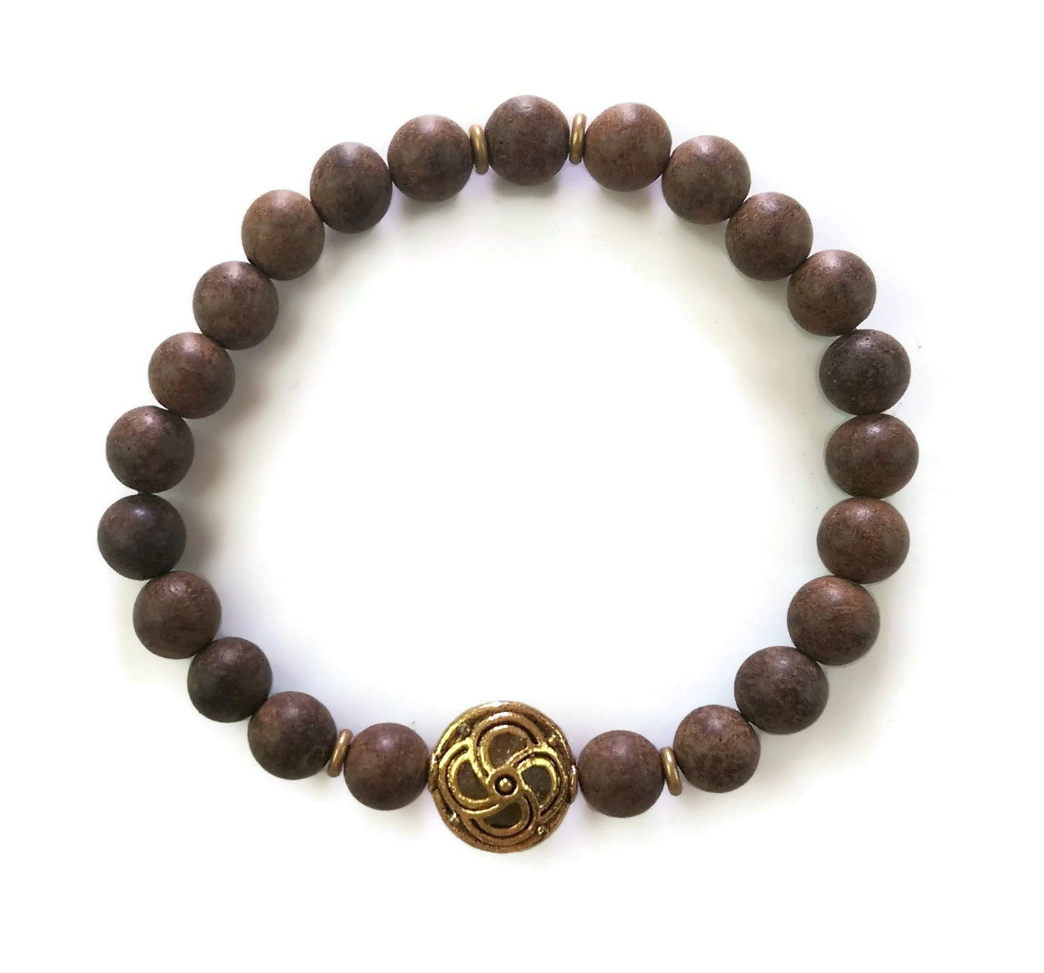 Nepal Chakra Collection 8mm Brown Agarwood with Brass Nepal Bead Wrist Mala Stretch Bracelet Stackable Mindful Focus Meditation Roost Chakra