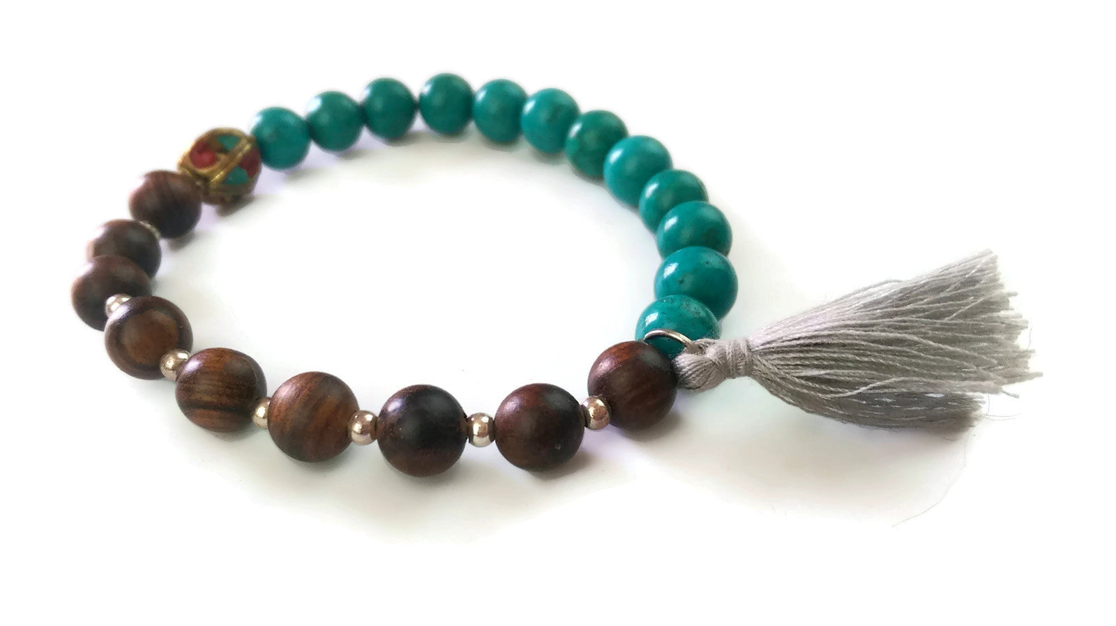 Nepal Chakra Collection 8mm Rose Wood Turquoise Nepal Bead Wrist Mala Stretch Bracelet Throat Chakra