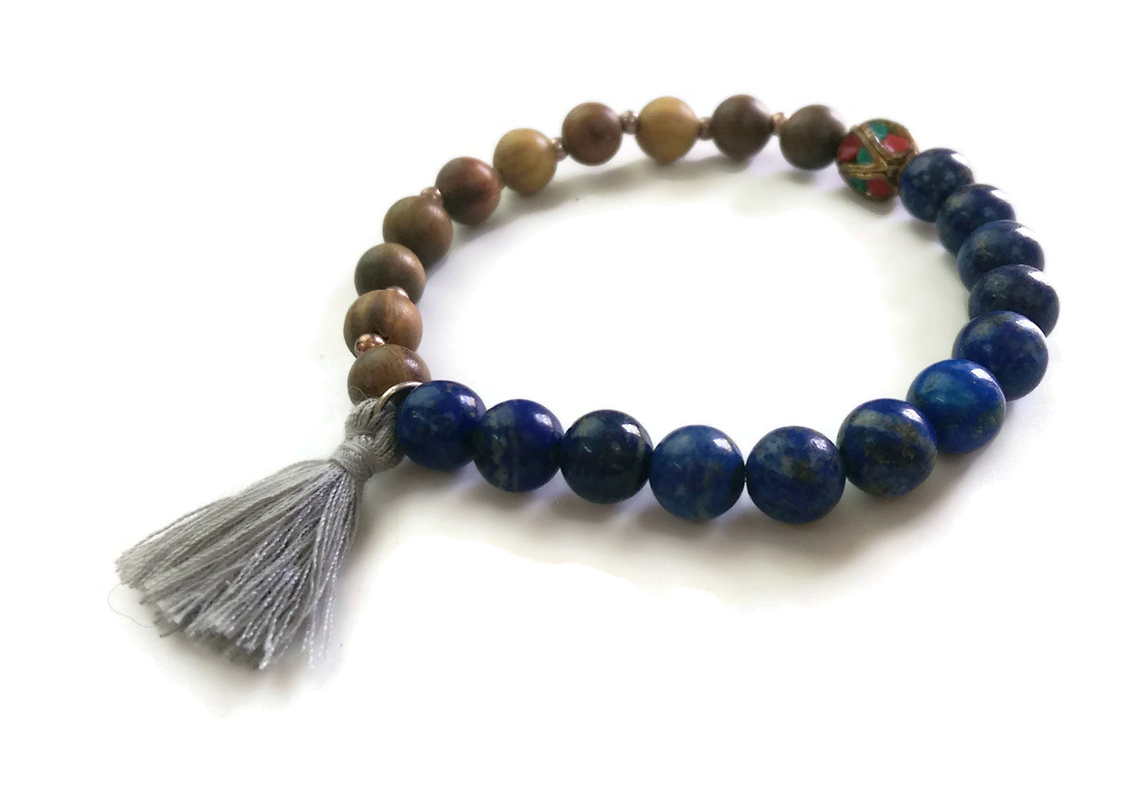 Nepal Chakra Collection 8mm Green Sandalwood Lapis Lazuli Bead Wrist Mala Stretch Bracelet Stackable Focus Yoga Meditation Third Eye Chakra